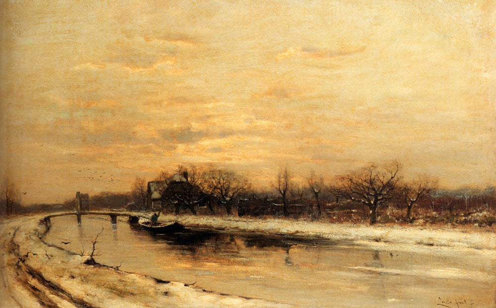 Louis Apol - Winter An Orchard Alongside A Canal With A Farmhouse In The Distance At Dusk