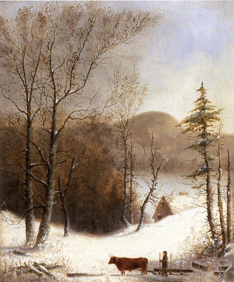 George Henry Durrie - Winter Landscape with Log Cart
