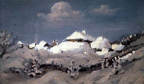 Kuindzhi Arhip - Winter Spots of light on the roofs of huts 1890 1895