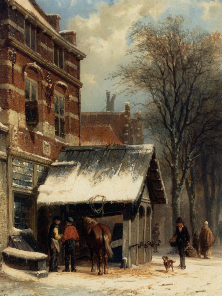 Cornelis Springer - The Smithy of Culemborg in the Winter