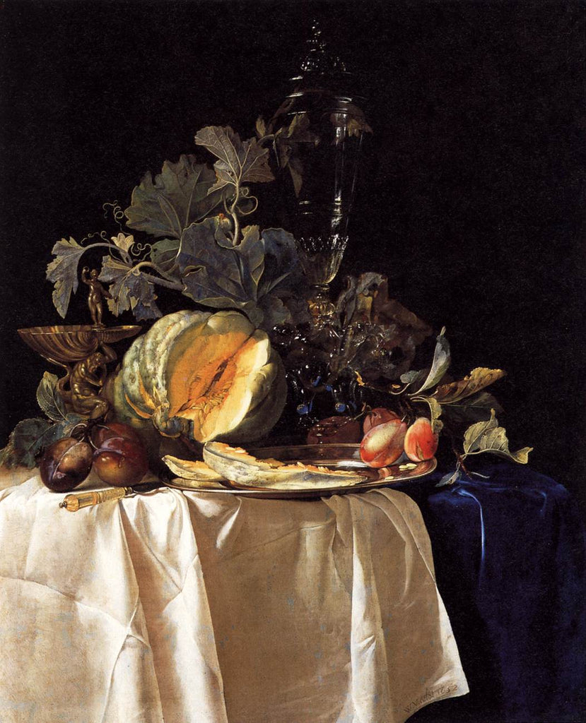 Willem van Aelst - Still Life with Fruit and Crystal Vase 1652