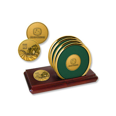 John Deere 175th Anniversary Drink Coasters and Wooden Tray Set