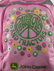Peace Love Tractors Kids Backpack Close Up