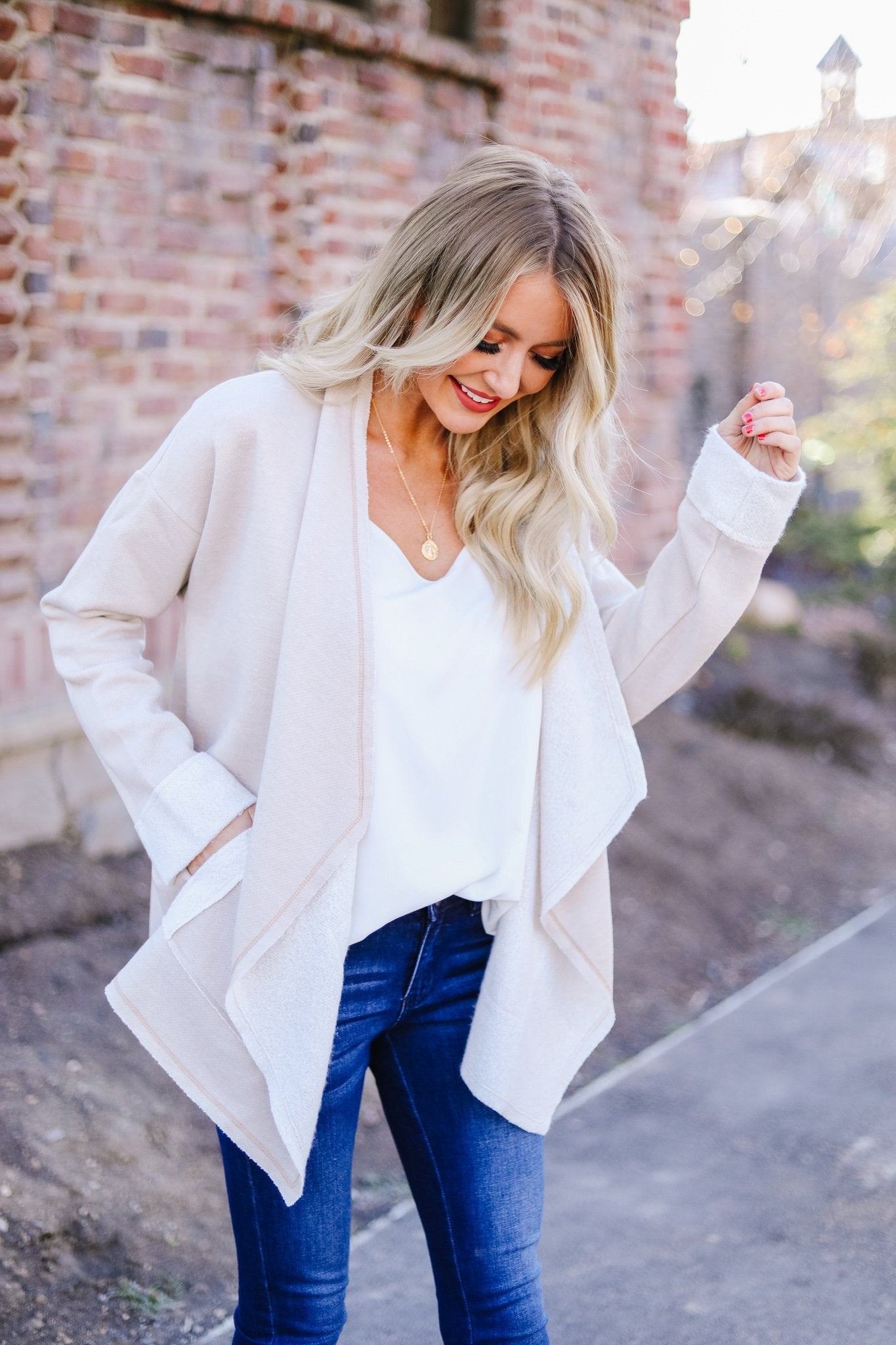 Tres Chic French Terry Cardigan In Oatmeal
