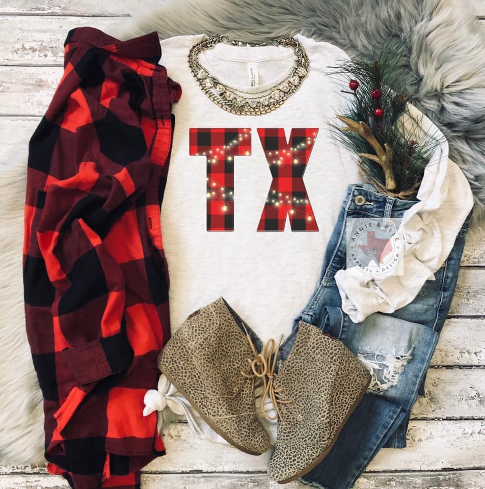 Christmas State Plaid Tee