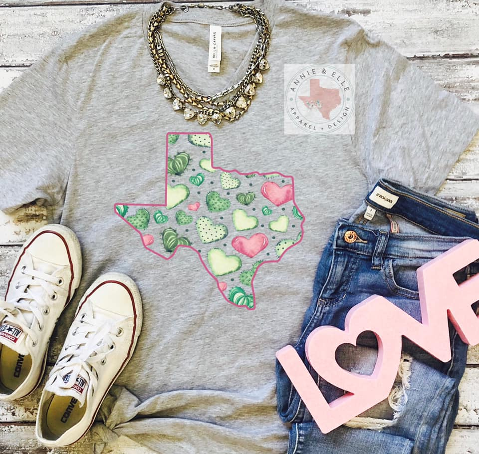 💕🌵State Cactus Hearts in Grey🌵💕