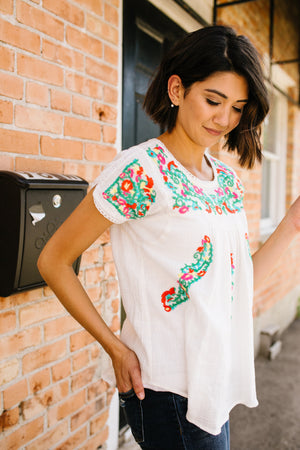 Angelina Smocked + Embroidered Blouse