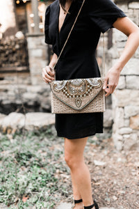 Beaded Elegance Crossbody Clutch