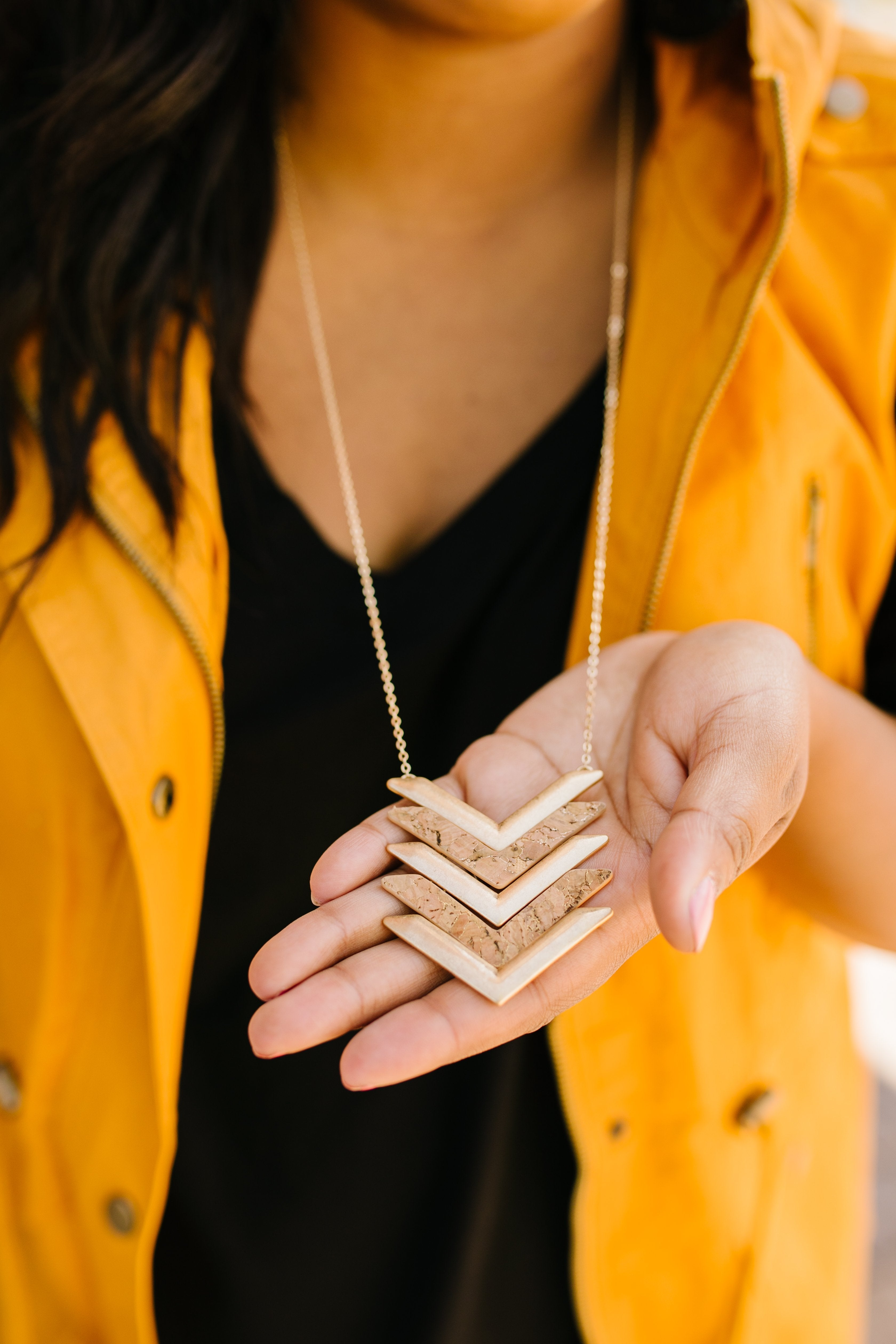 Cork Chevron Pendant Necklace