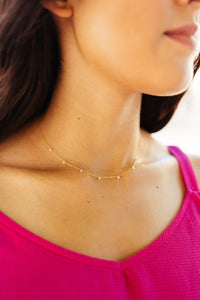 Dainty Pearl + Gold Necklace