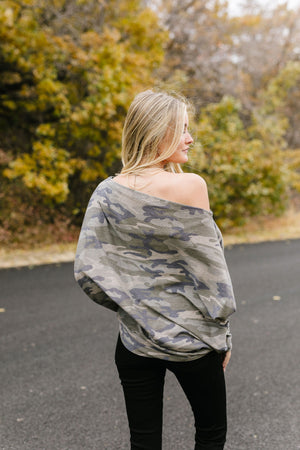 Faded Camo Off The Shoulder Top