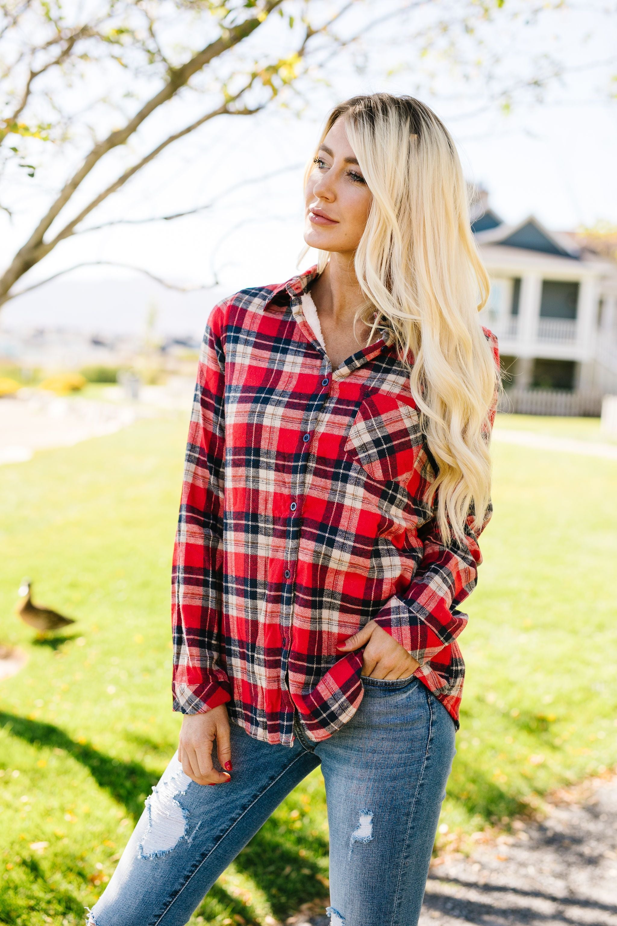 Fleece-Lined Flannel Button-Down In Red