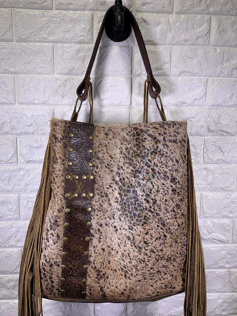 Keep It Gypsy The Rosie Designer Embellished Tote Bag with Fringe in Distressed Leopard