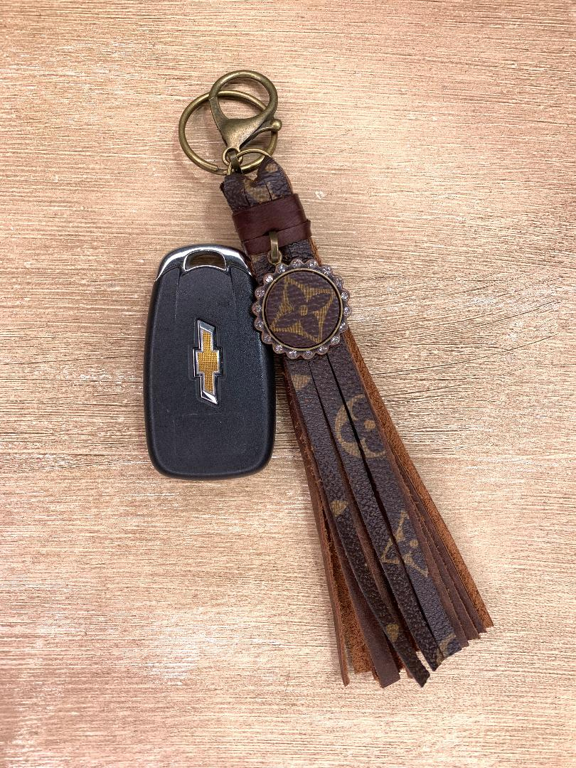 Authentic Upcycled and Recycled Designer Key Chain-Brandi