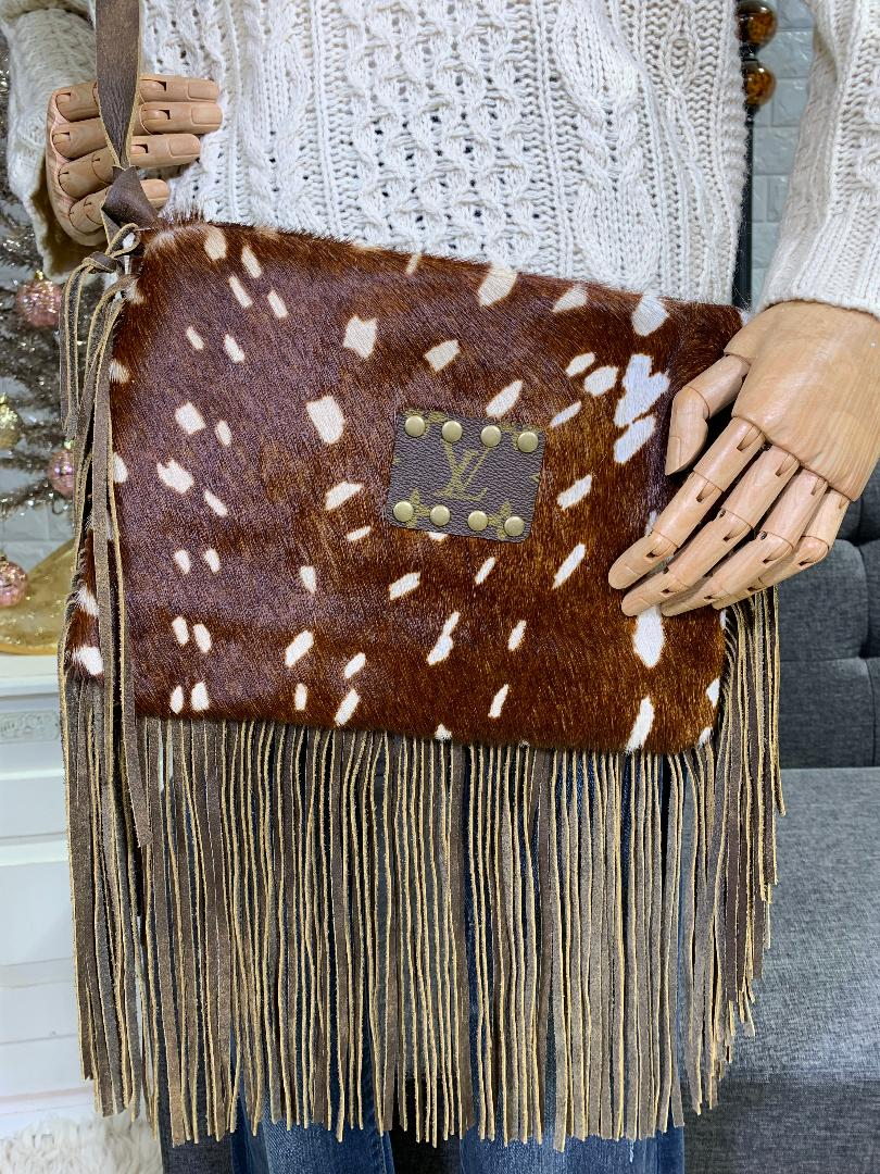 Maxine: Keep It Gypsy Embellished Cross Body Purse With Fringe in Axis