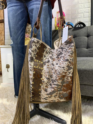 Keep It Gypsy The Rosie Designer Embellished Tote Bag with Fringe in Speckled Hair on Hide