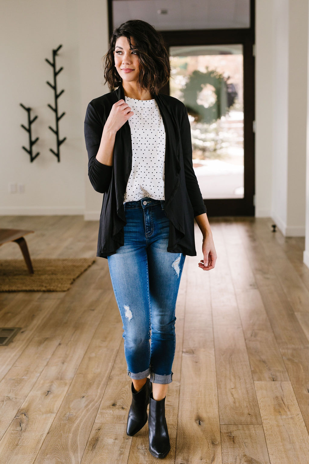 Shirred Sleeve Cardigan