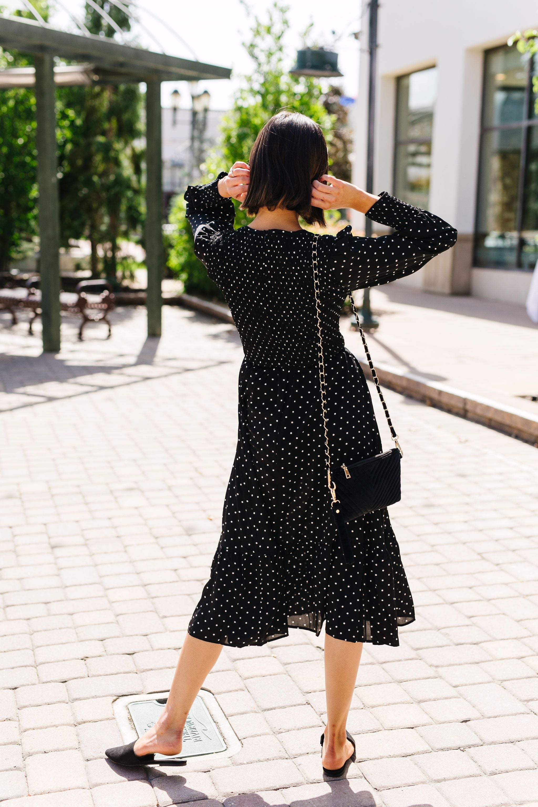 Smocked Polka Dot Midi Dress
