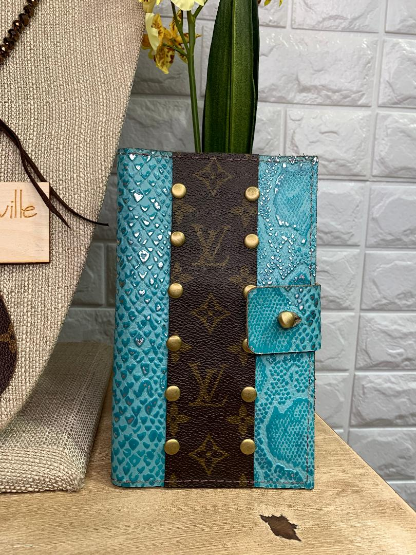 Keep It Gypsy | Designer Embellished Passport Wallet in Metallic Turquoise Snakeskin