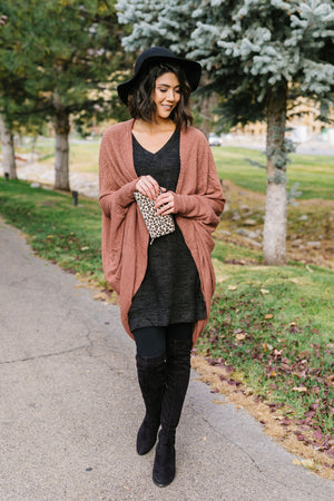 Waffle Knit Slouchy Cardi In Rust