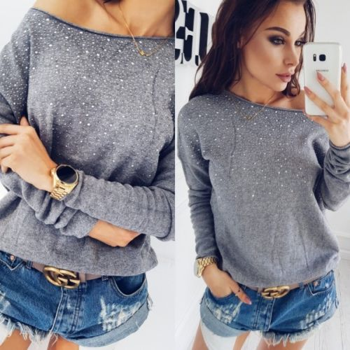 caac046ca94bd Caceres Loose Long Sleeve Knitted Long Sleeve Sweater - ClassyPeek