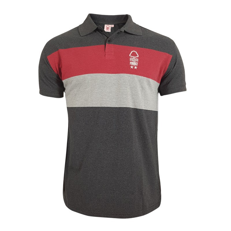 NFFC Junior Charcoal 2 Stripe Polo - Nottingham Forest