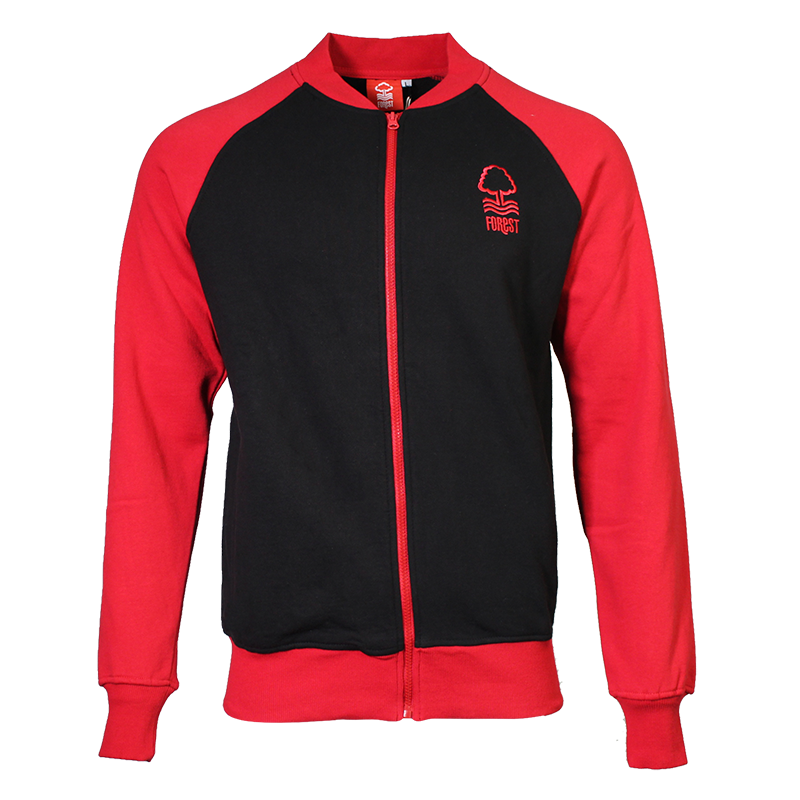 NFFC Mens Black/Red Baseball Jacket - Nottingham Forest
