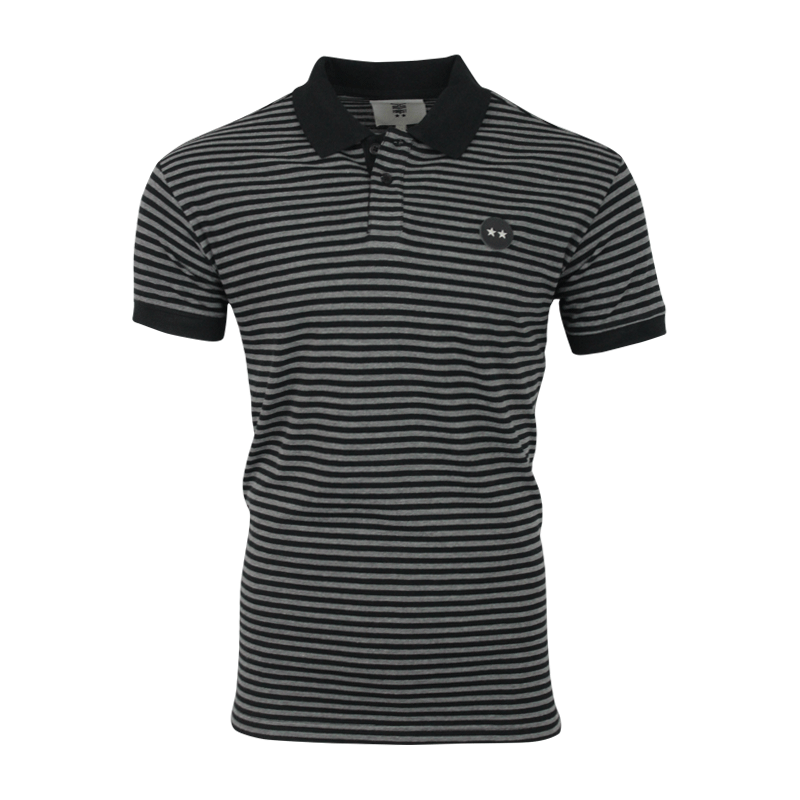 NFFC Mens Grey/Black 2 Star Stripe Polo - Nottingham Forest
