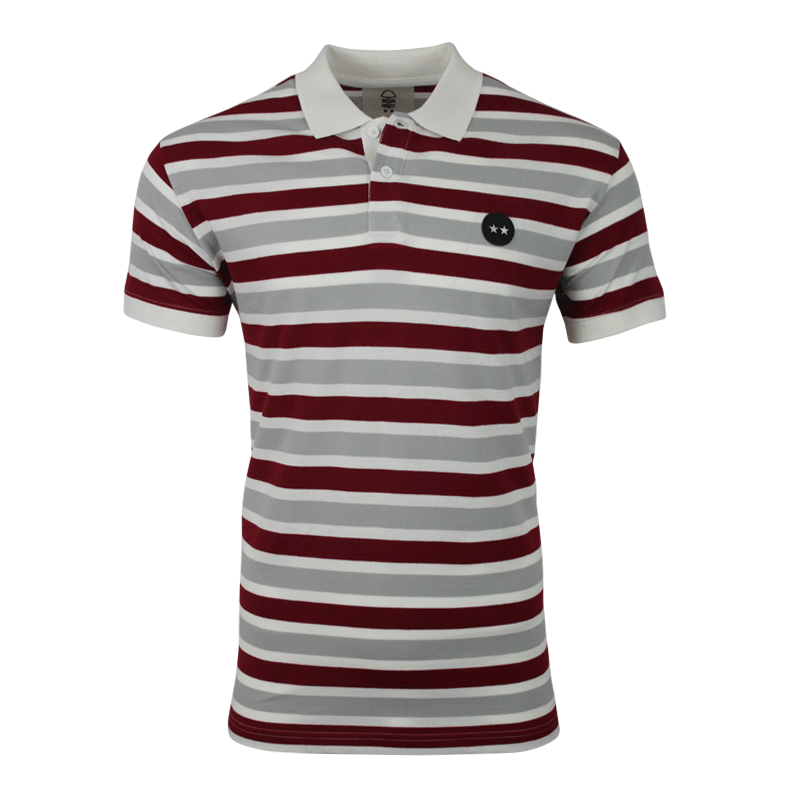 NFFC Mens 2 Star Striped Polo - Nottingham Forest