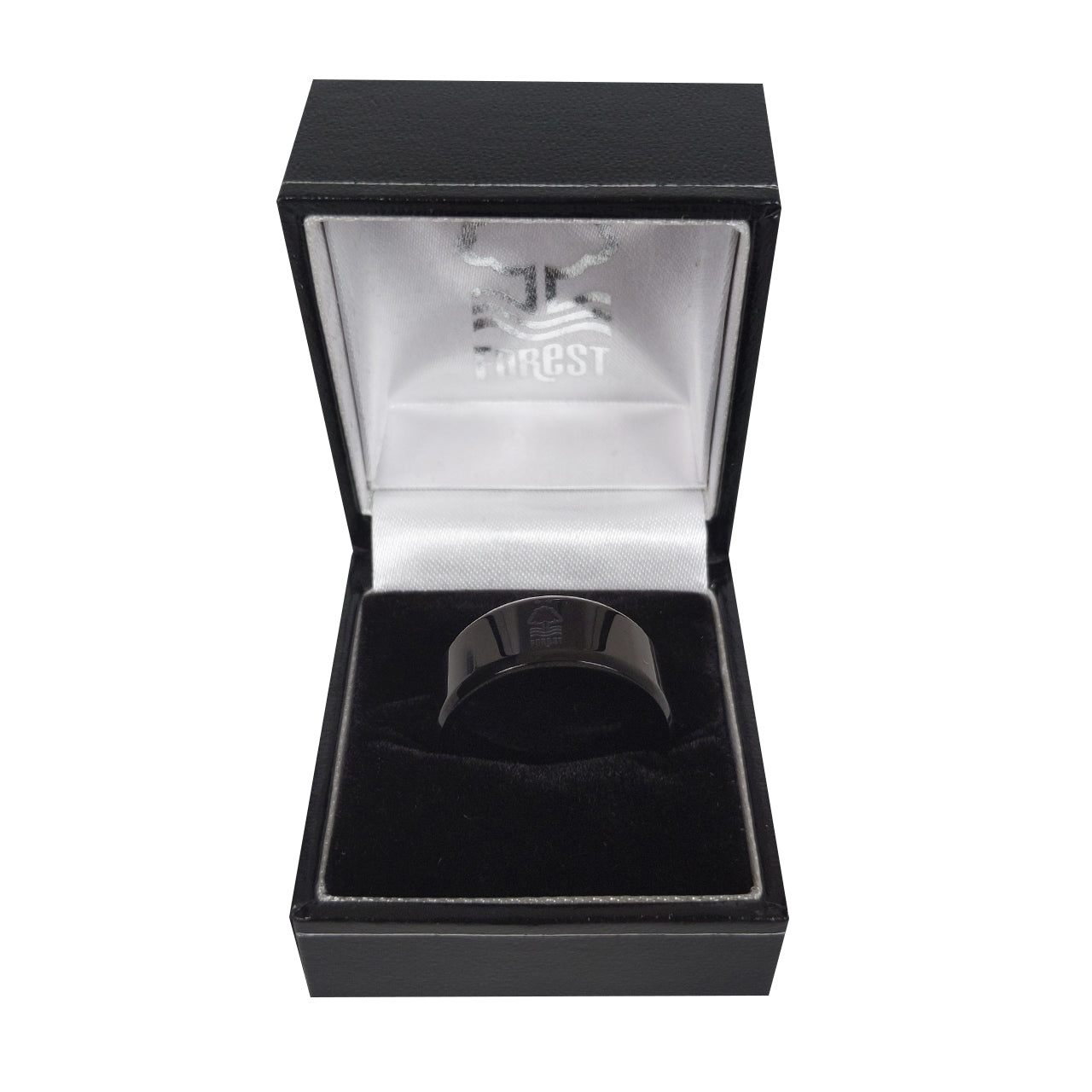NFFC Black IP-Plated Crest Band Ring - Nottingham Forest