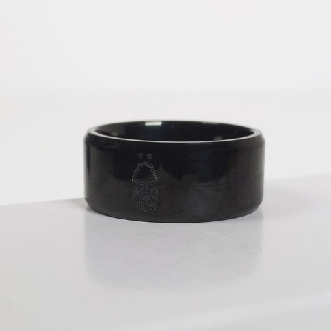 NFFC Black IP-Plated Crest Band Ring
