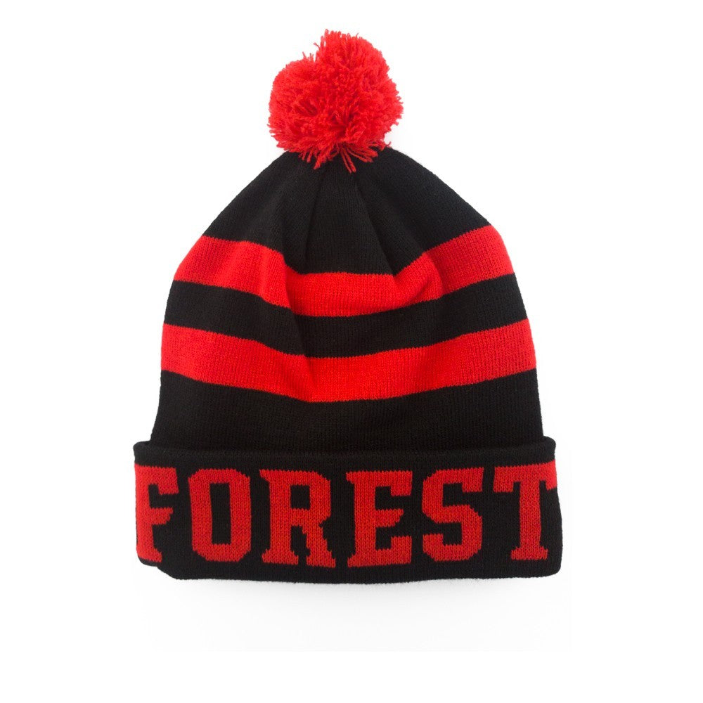 NFFC Junior Black/Red Fleece Lined Bobble Hat - Nottingham Forest