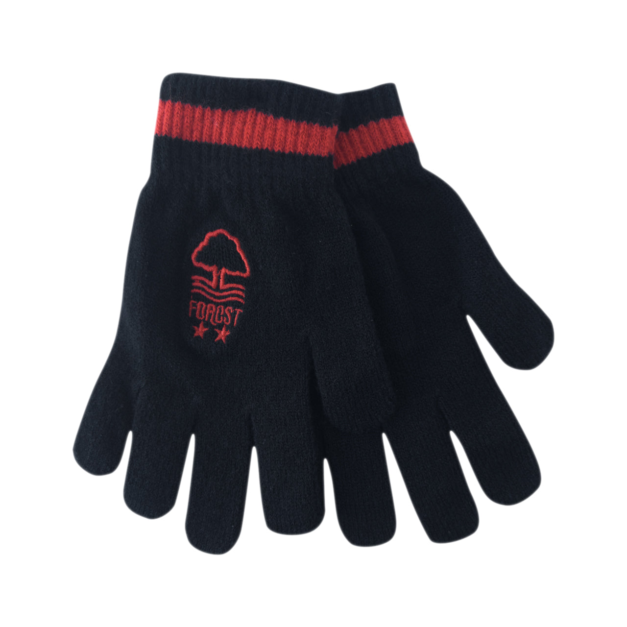 NFFC Black/Red Junior Knitted Gloves - Nottingham Forest
