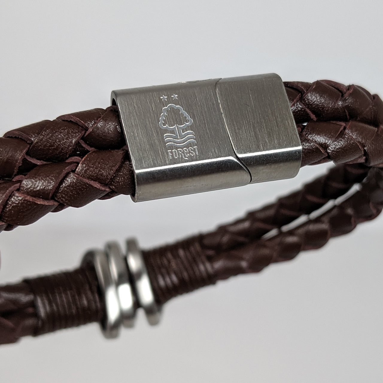 NFFC Brown Leather Crest Bracelet