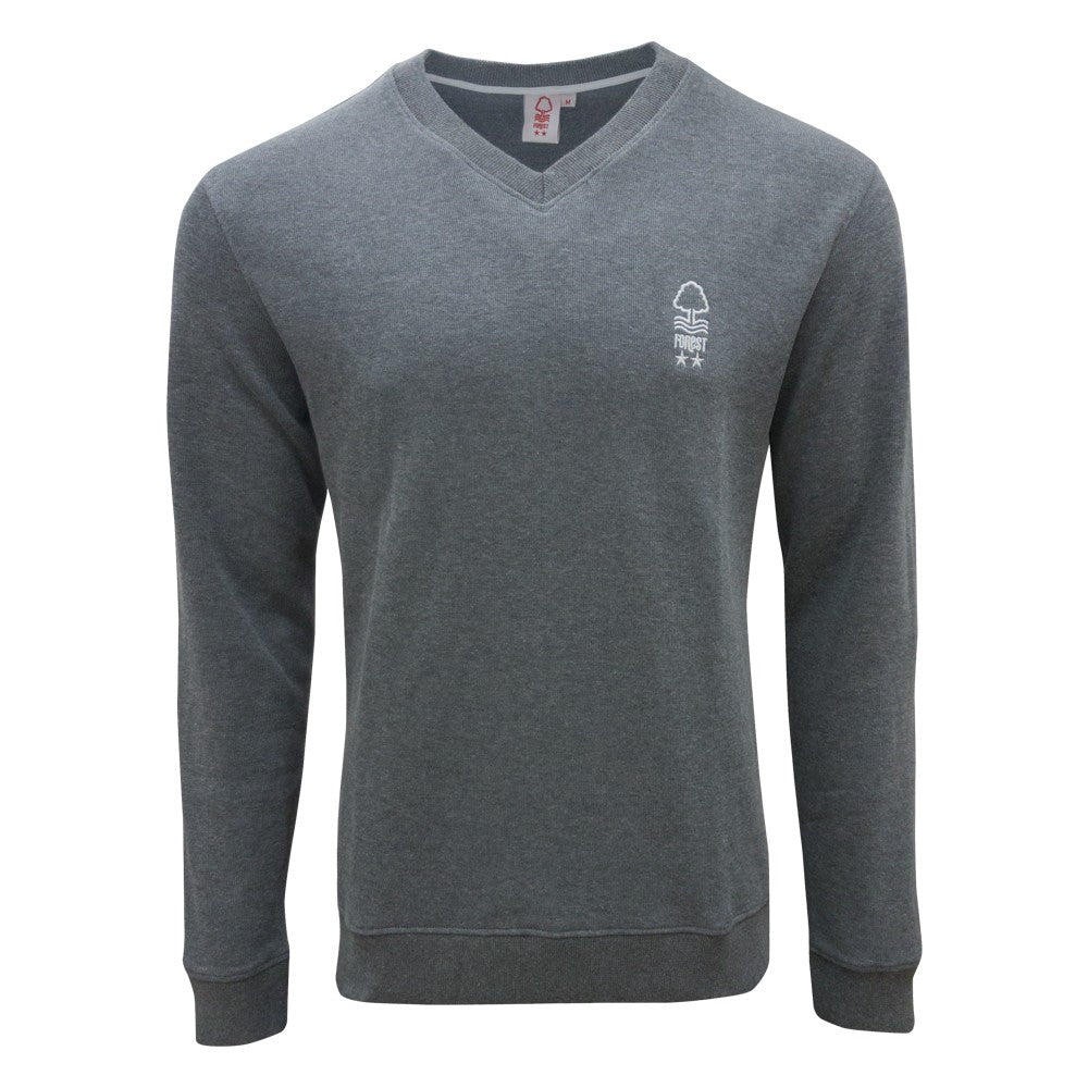 NFFC Mens Grey V-Neck Jumper - Nottingham Forest