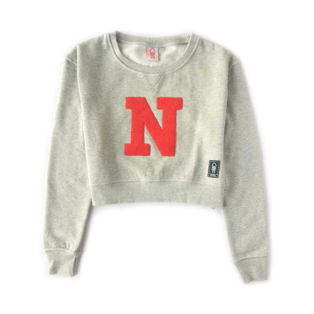 NFFC Girls Grey Crop Sweat Top - Nottingham Forest