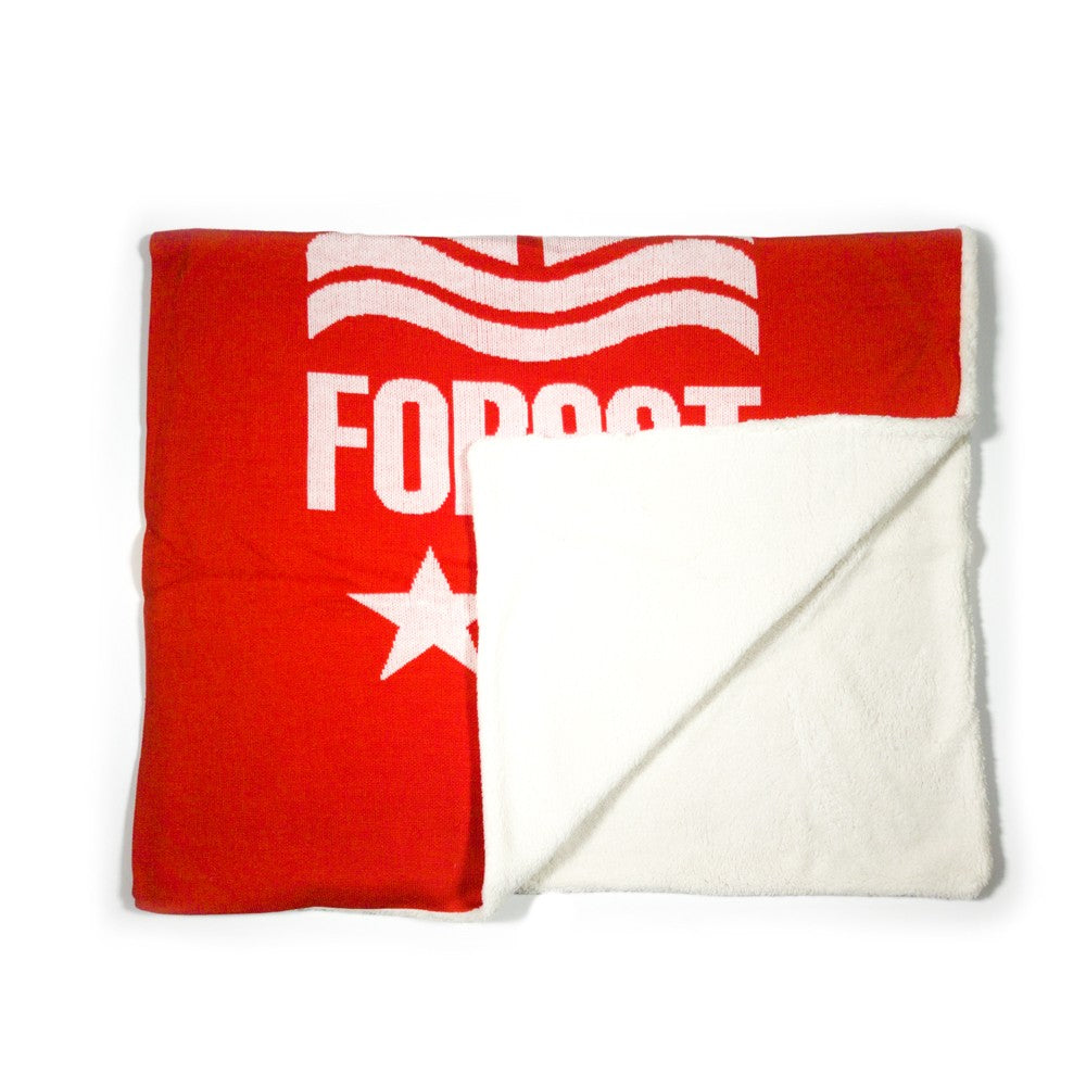 NFFC Red Knitted Sherpa Blanket