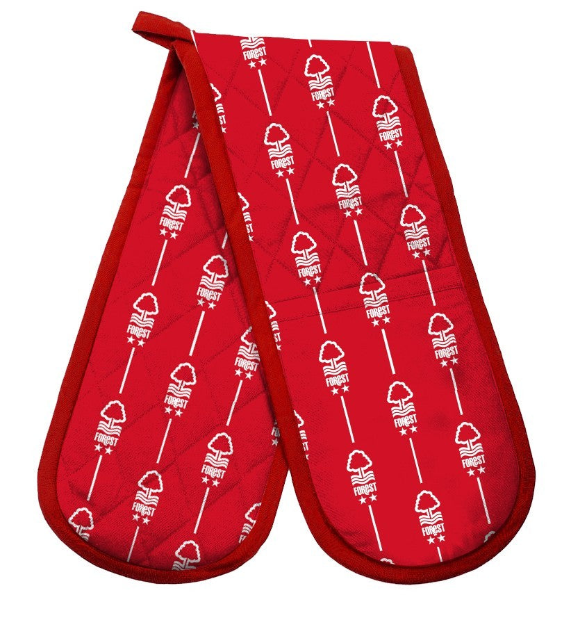 NFFC Red Pinstripe Crest Oven Gloves