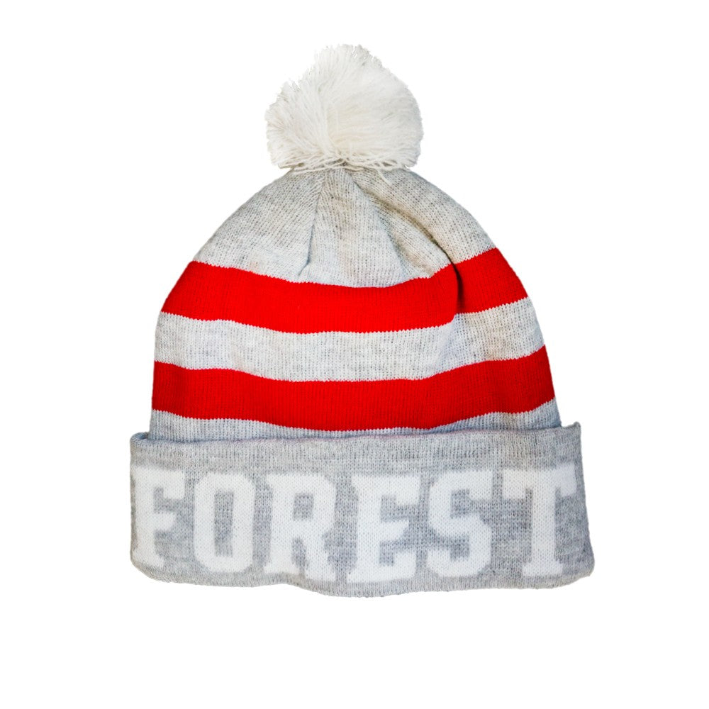 NFFC Adult Grey/White Fleece Lined Bobble Hat - Nottingham Forest