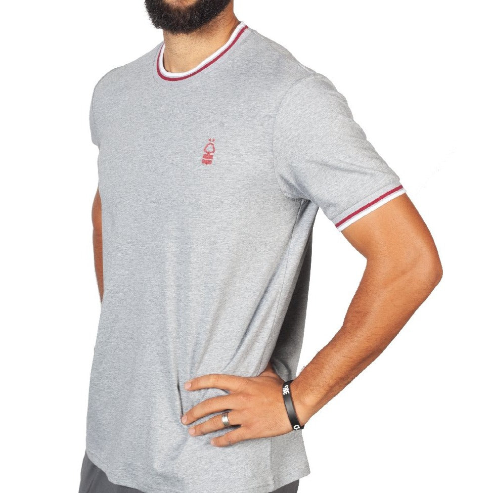 NFFC Mens Grey Cuffed Rib Neck T-Shirt