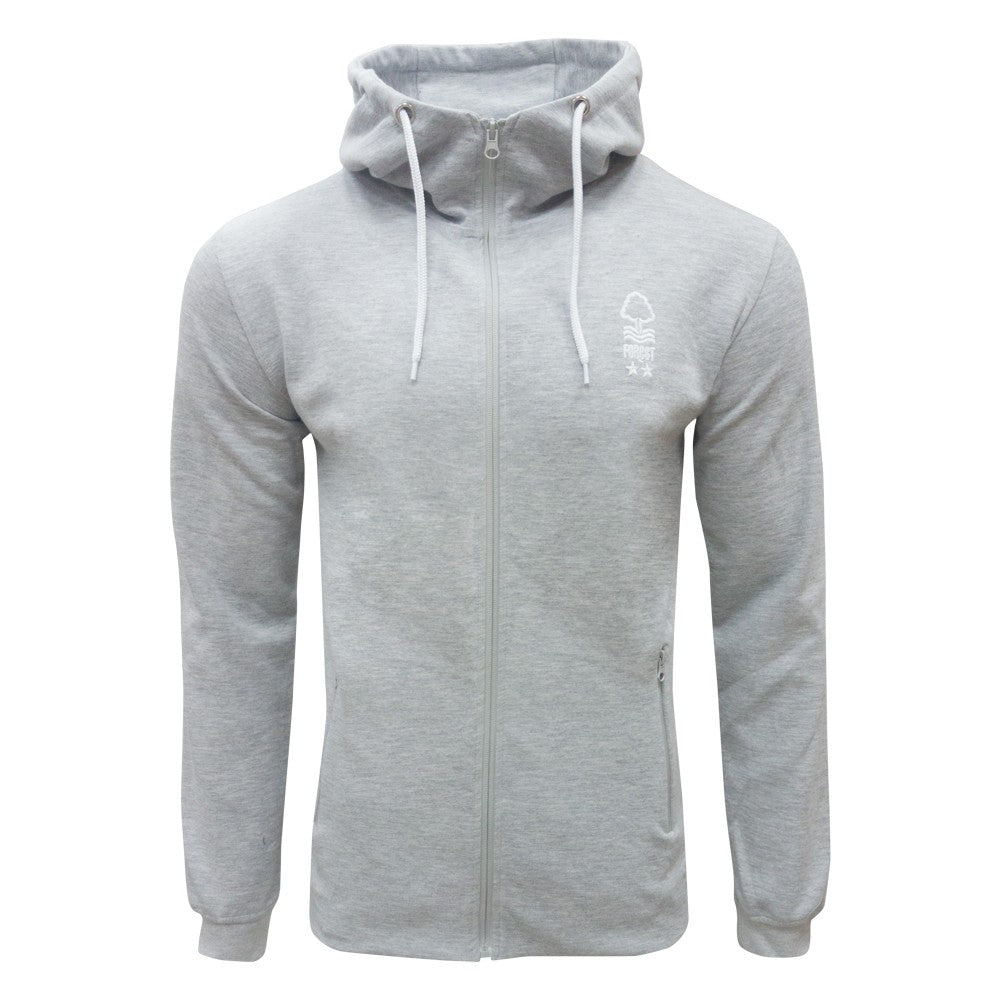 NFFC Mens Grey Sport Zip Hoodie - Nottingham Forest