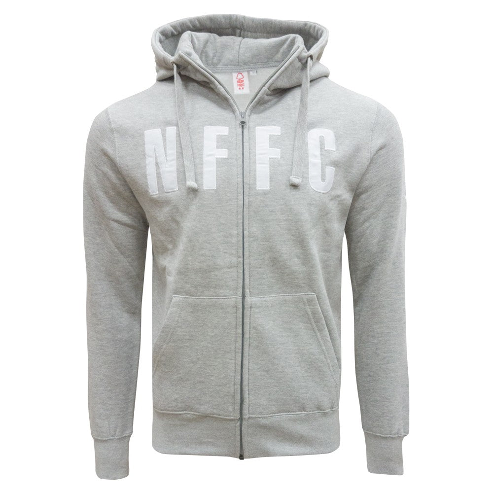 NFFC Mens Grey Full Zip Hoodie - Nottingham Forest