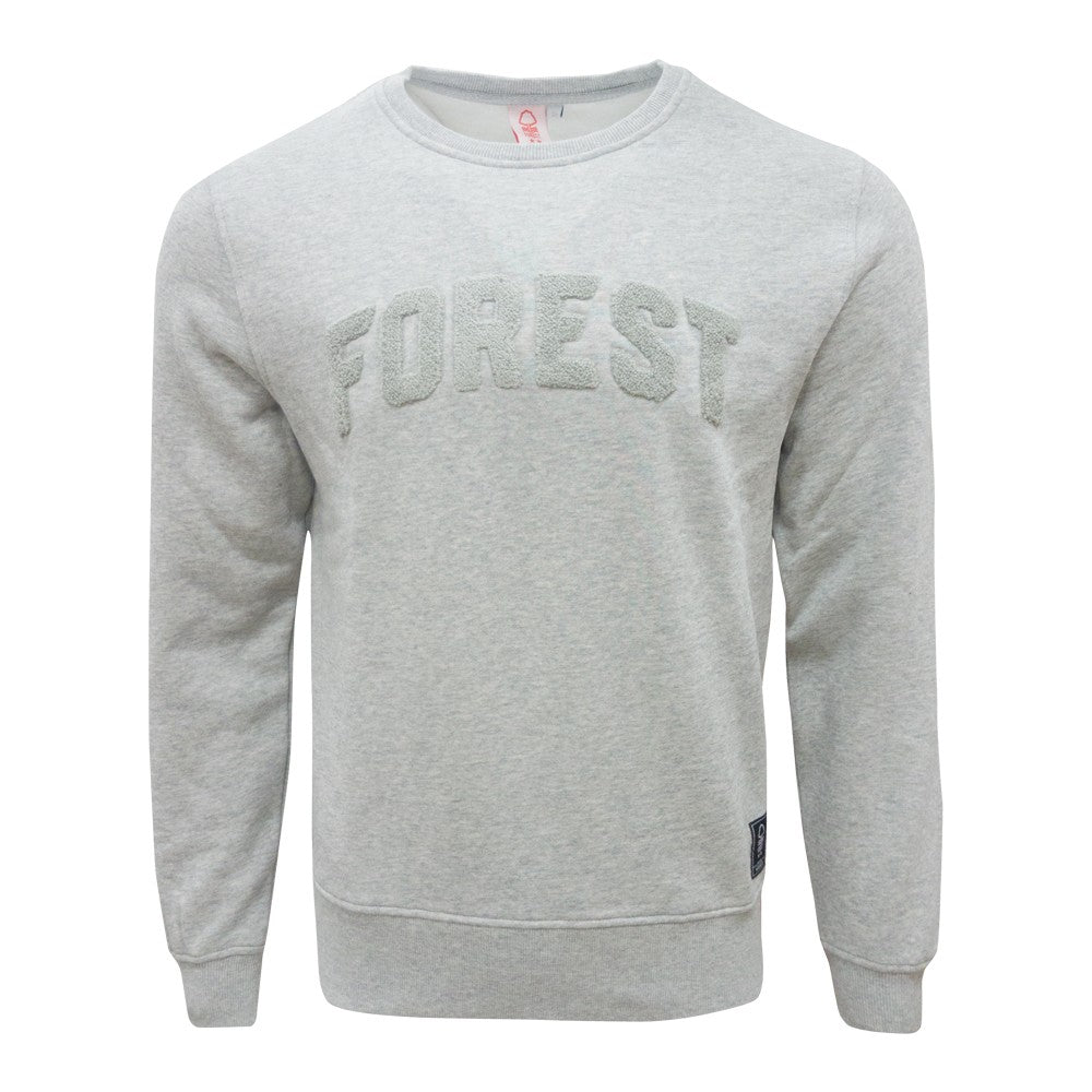 NFFC Mens Grey Marl Terry Crew Neck - Nottingham Forest