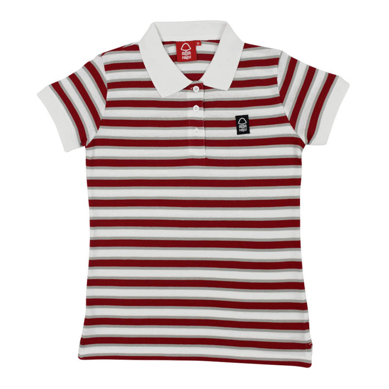 NFFC Womens Red/White Stripe Polo