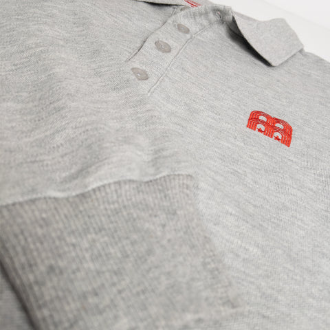 NFFC Mens Grey Long Sleeve Polo