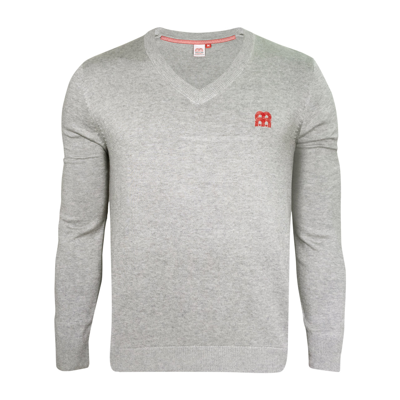 NFFC Mens Grey MM Knitted V-Neck Jumper