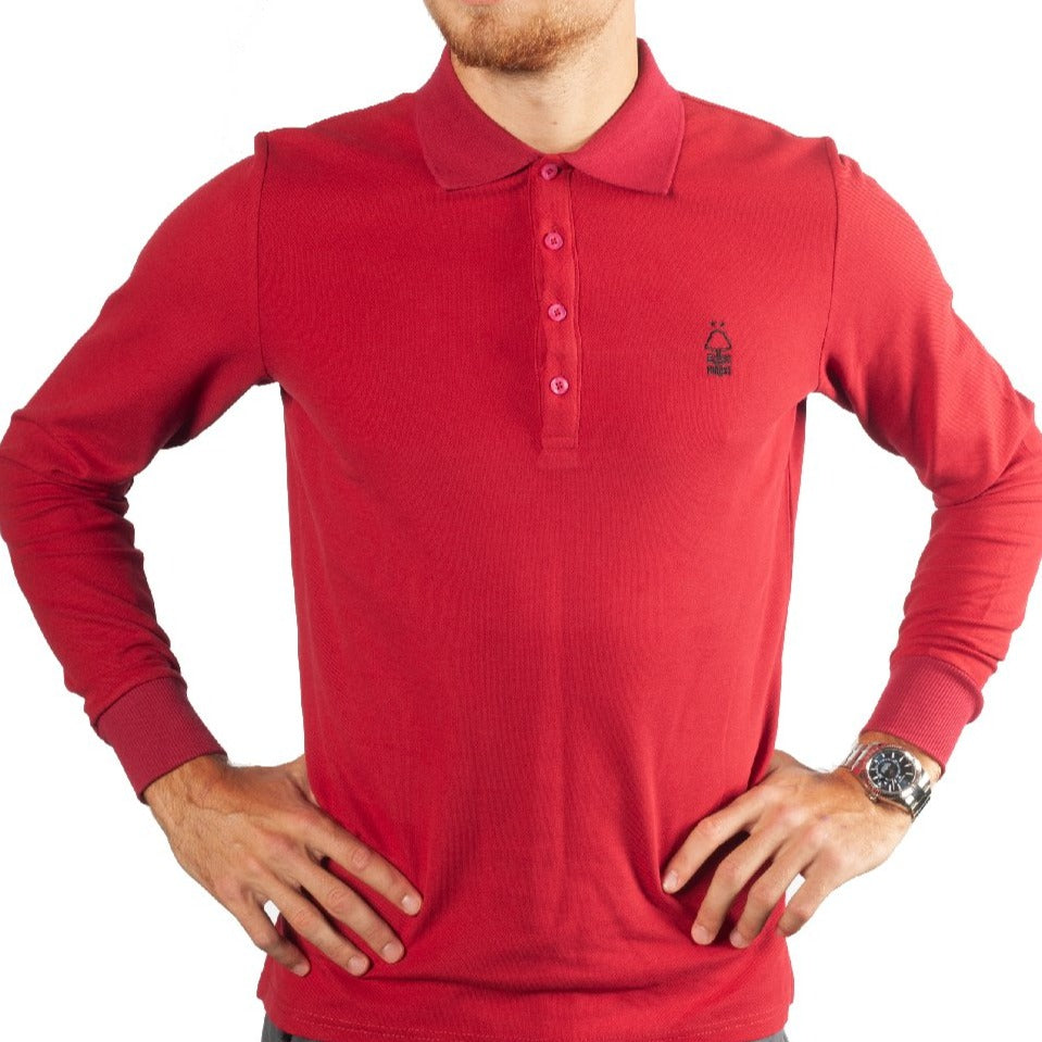 NFFC Mens Deep Red Longsleeve Polo
