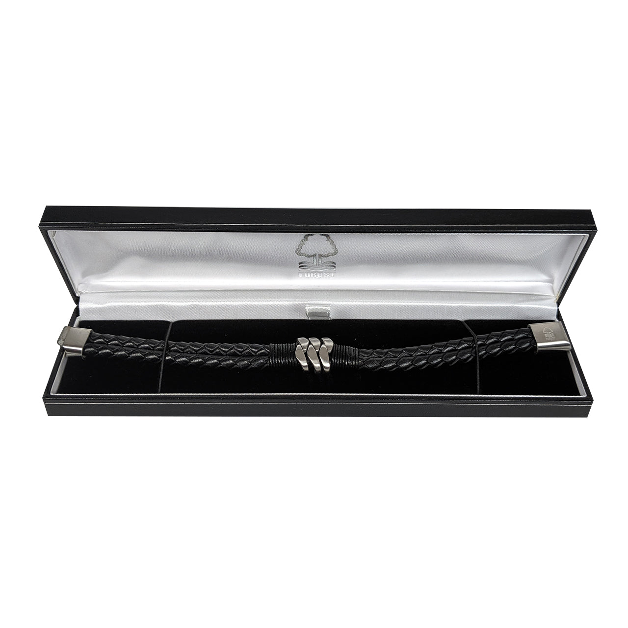 NFFC Black Leather Crest Bracelet - Nottingham Forest