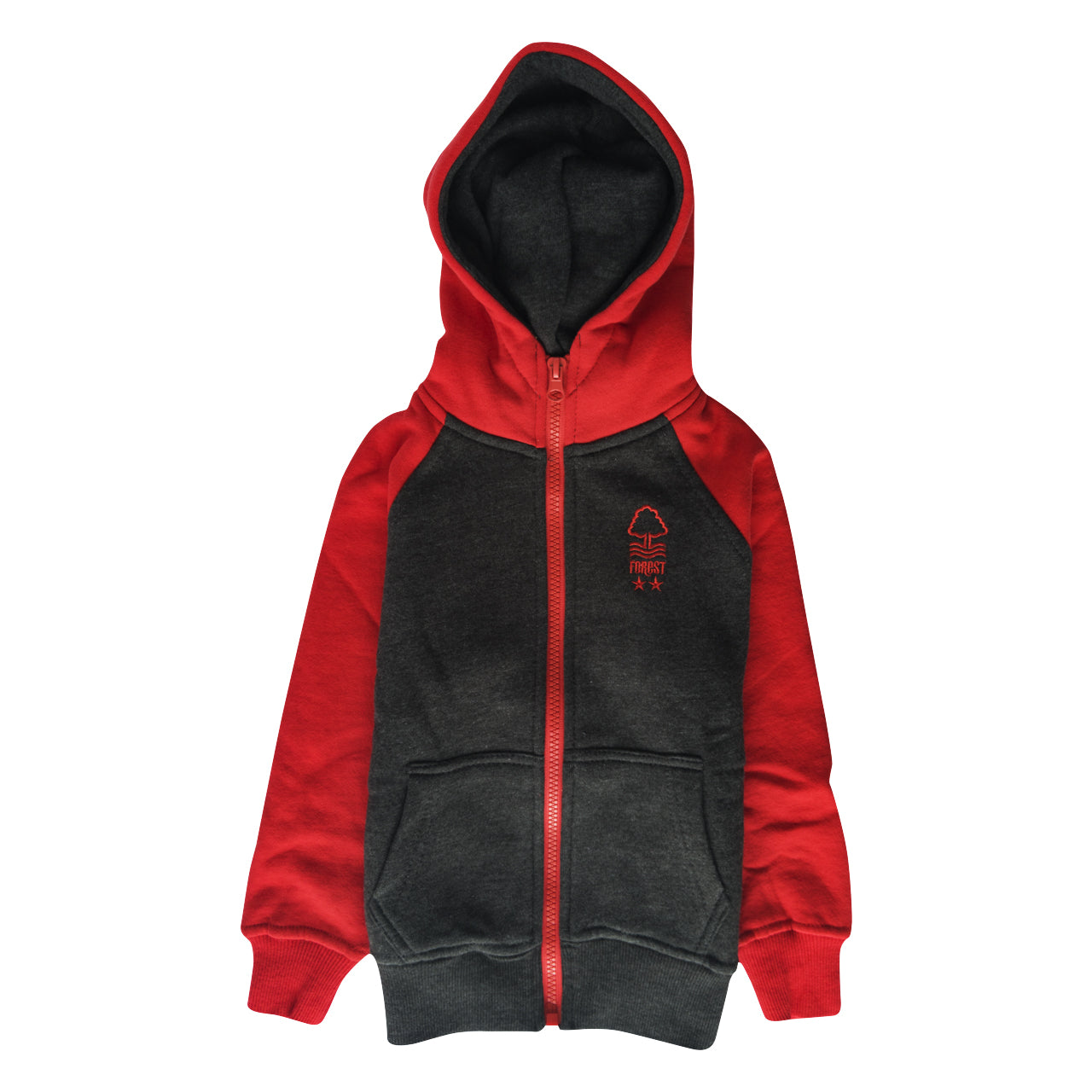 NFFC Baby Red/Charcoal Zip Hoodie - Nottingham Forest