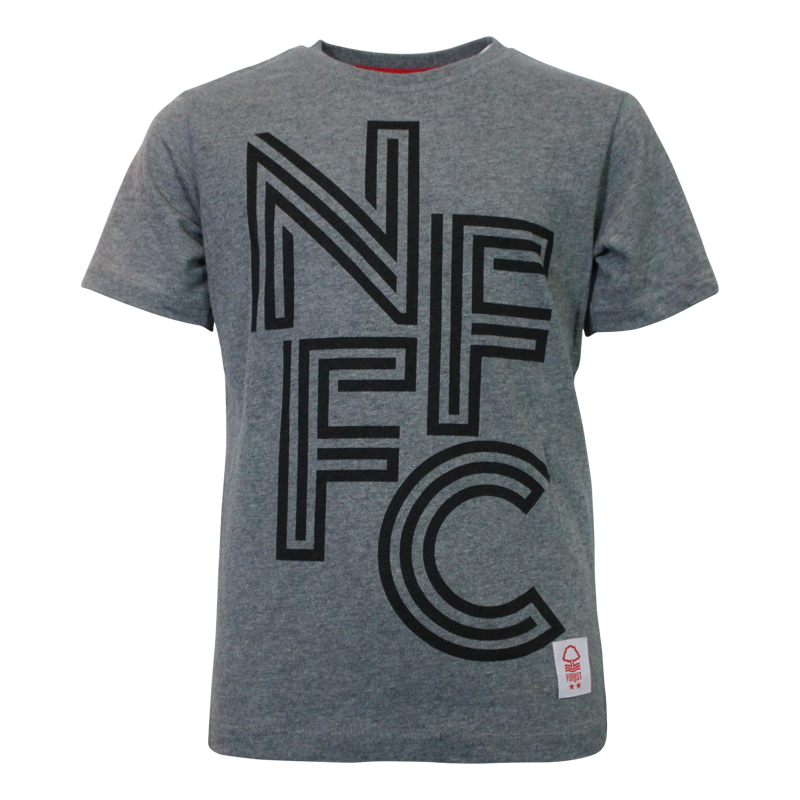 NFFC Junior Charcoal Retro Text T-Shirt - Nottingham Forest